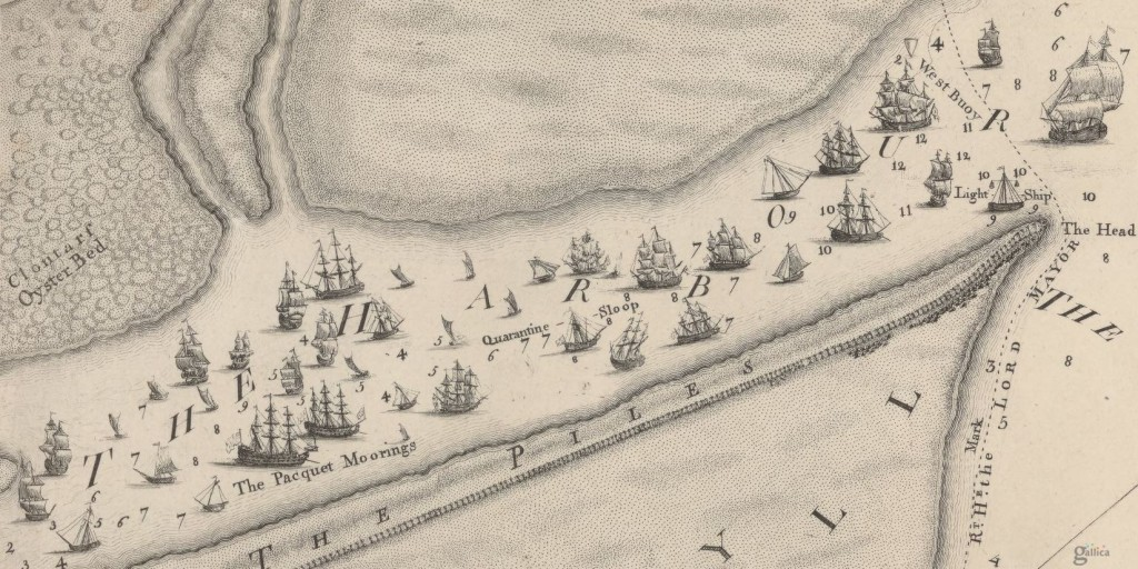 Detail the harbour from Rocques survey of the city, harbour, bay and environs
