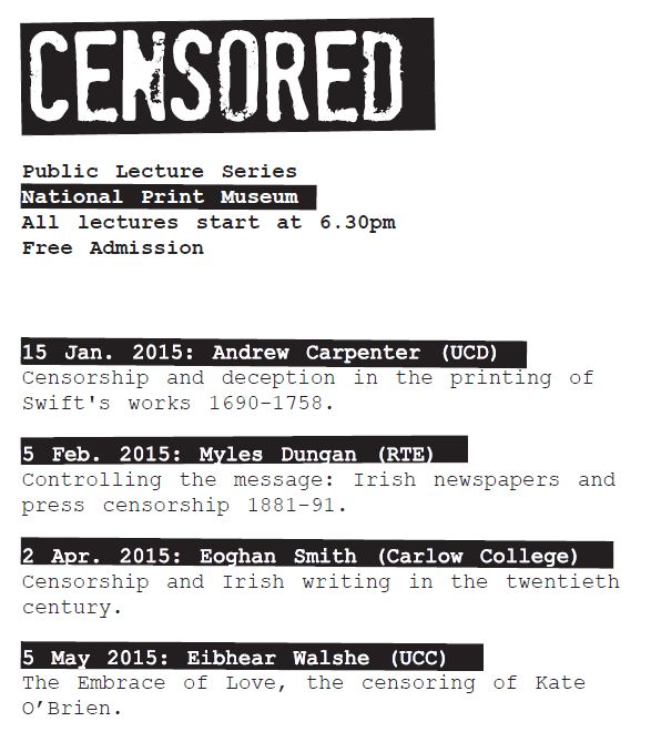 Programme for Censored lecture series