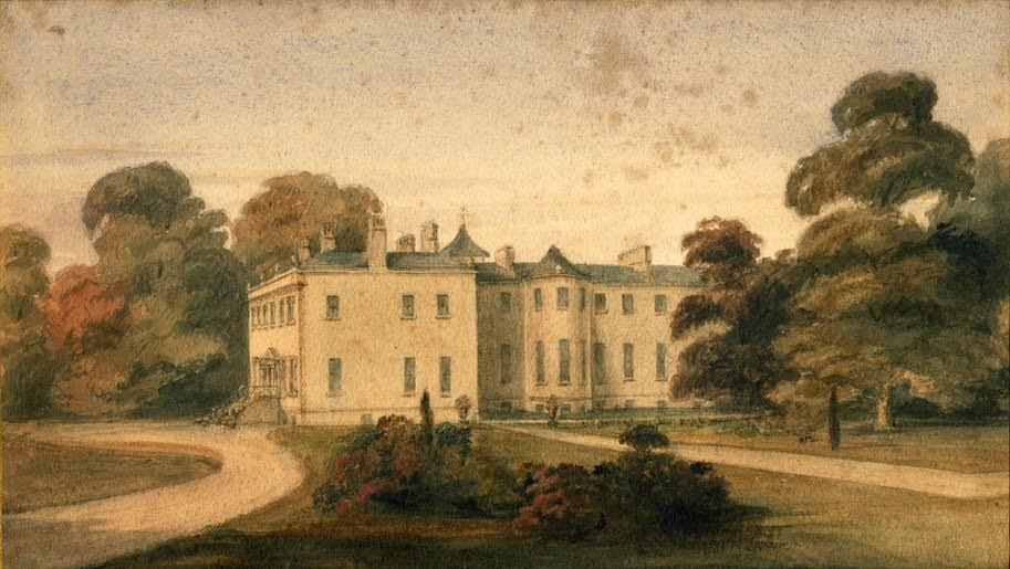 Newbridge House by Janet Finlay Cobbe, née Grahame (1826-1884), c.1860, watercolour on paper, Cobbe collection no.205